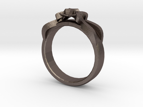 Designer Ring #1 in Polished Bronzed-Silver Steel: 7 / 54