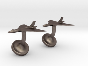 Vulcan cufflinks in Polished Bronzed Silver Steel