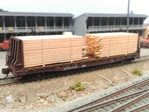 N Lumber Load For 5 Flat Cars: WOT, MTL, Athearn in Frosted Ultra Detail