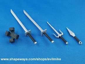Ninja Weapons Pack 1 in White Strong & Flexible Polished