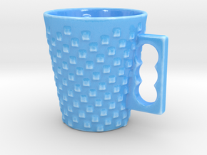 Spiral Checkered Mug in Gloss Blue Porcelain