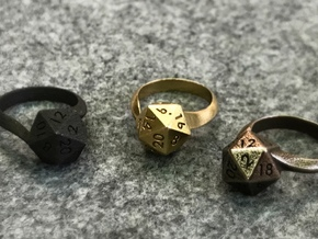 D20 Ring in Polished Bronzed Silver Steel: 6 / 51.5