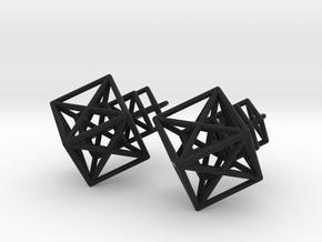 Entangled Hypercube Dangle Earring in Black Natural Versatile Plastic: Medium