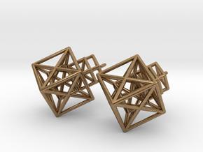 Entangled Hypercube Dangle Earring in Natural Brass: Medium