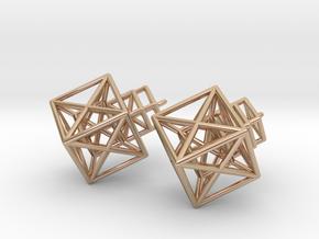 Entangled Hypercube Dangle Earring in 14k Rose Gold Plated Brass: Medium