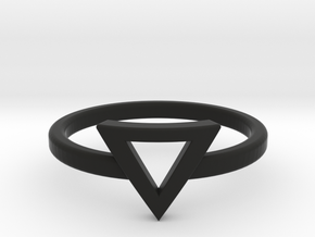 Small Offset Triangle Midi Ring in Black Strong & Flexible