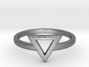 Small Offset Triangle Midi Ring in Polished Silver
