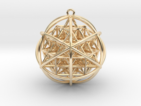 Planetary Merkaba Sphere w/ nested 64 Tetrahedron  in 14k Gold Plated Brass