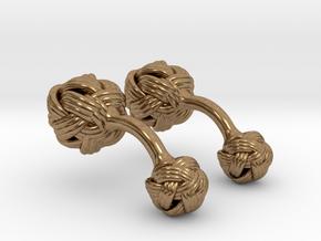 Algerian Knot Cufflink in Natural Brass