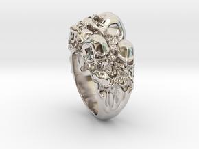 Skull Biker ring RS005000002 in Platinum: 6 / 51.5