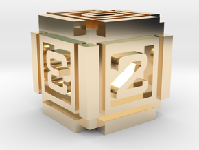 Cubic D6 - 16mm die in 14K Yellow Gold