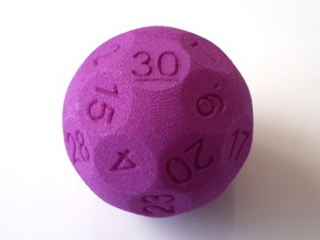 D30 Sphere Dice in Purple Processed Versatile Plastic