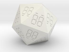 7 Segment Style D20 Die in White Natural Versatile Plastic