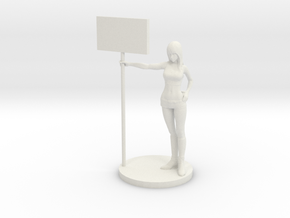 1/43 Race Queen 02 Holding Board in White Natural Versatile Plastic