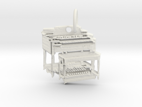 Hammond B3 Organ Pendant/Keyring in White Natural Versatile Plastic