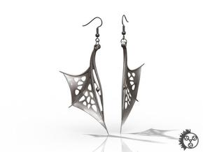 Wing Earrings - Fishhooks in Polished Bronzed Silver Steel