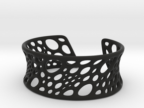 Bamboo Cuff in Black Natural Versatile Plastic: Small