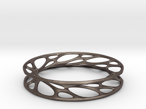 Convolution Bangle in Polished Bronzed Silver Steel: Small