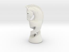Chess Knight in White Natural Versatile Plastic: Medium