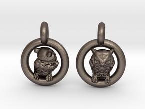 Owl Earrings in Polished Bronzed Silver Steel