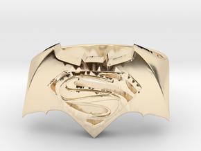 SuperMan Vs Batman Size 11 in 14k Gold Plated Brass