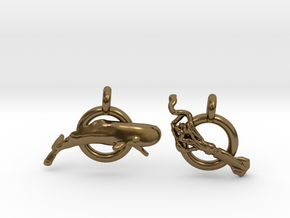 Whale V Squid earrings in Polished Bronze