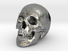 Human Skull Pendant - Skull Bead in Natural Silver