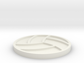 Volleyball Drink Coaster in White Natural Versatile Plastic