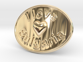 I Love Bulgaria Belt Buckle in 14K Yellow Gold