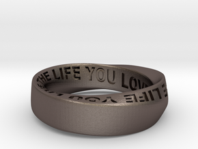 Live The Life You Love - Mobius Ring 6mm band in Polished Bronzed Silver Steel