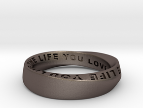 Live The Life You Love - Mobius Ring 4.5mm band in Polished Bronzed Silver Steel: 5.5 / 50.25