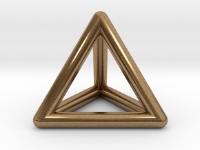 Tetrahedron Platonic Solid Triangular Pyramid Pend in Natural Brass