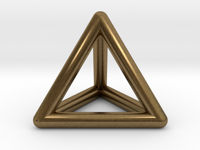 Tetrahedron Platonic Solid Triangular Pyramid Pend in Natural Bronze