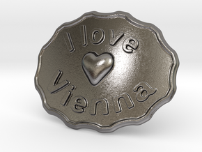 I Love Vienna Belt Buckle in Polished Nickel Steel