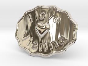 I Love Vienna Belt Buckle in Rhodium Plated Brass