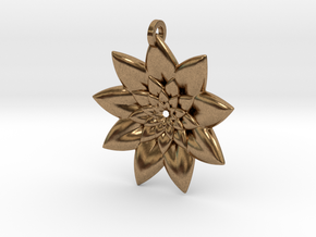 Fractal Flower Pendant V in Natural Brass