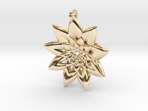 Fractal Flower Pendant V in 14k Gold Plated Brass