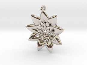 Fractal Flower Pendant V in Rhodium Plated Brass