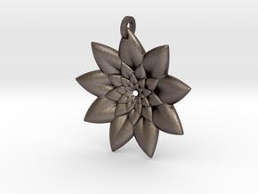 Fractal Flower Pendant V in Polished Bronzed Silver Steel