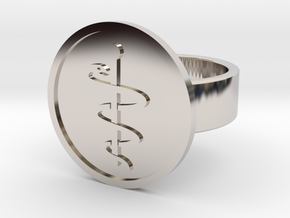 Staff of Aesculapius Ring in Rhodium Plated Brass: 8 / 56.75