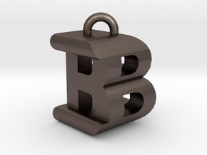 3D-Initial-BB in Polished Bronzed Silver Steel