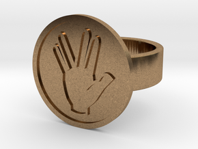 Vulcan Salute Ring in Natural Brass: 8 / 56.75