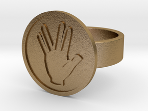 Vulcan Salute Ring in Polished Gold Steel: 10 / 61.5