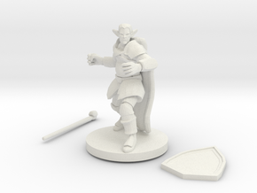 Male Elf Druid Club And Shield in White Natural Versatile Plastic