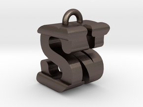 3D-Initial-NS in Polished Bronzed Silver Steel