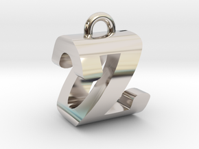 3D-Initial-OZ in Rhodium Plated Brass