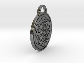 Flower of Life / Metatrons cube Pendant in Fine Detail Polished Silver