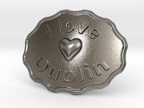 I Love Dublin Belt Buckle in Polished Nickel Steel