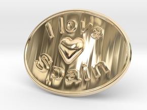 I Love Spain Belt Buckle in 14K Yellow Gold