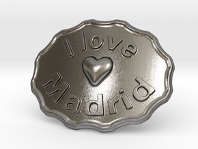 I Love Madrid Belt Buckle in Polished Nickel Steel